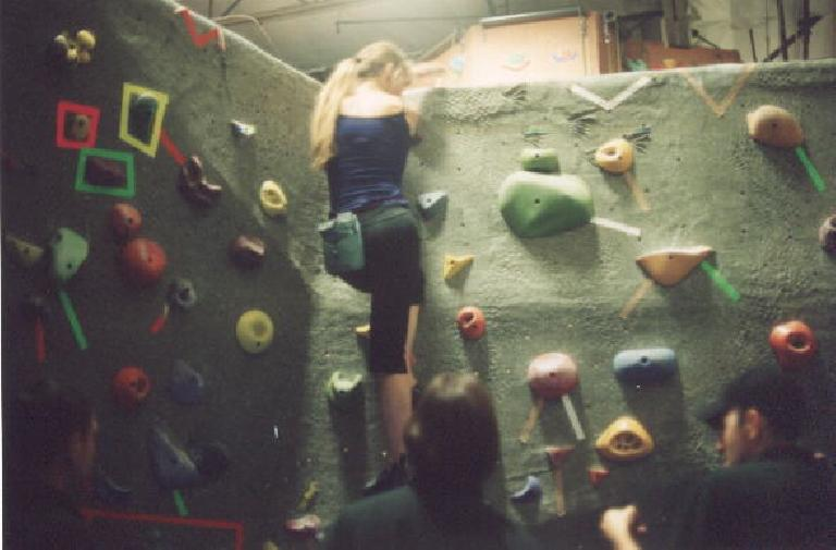 """Another boulder problem, the """"web shoot"""" or something like that.  Kind of a disorganized """"comp"""" but still lots of fun!"""