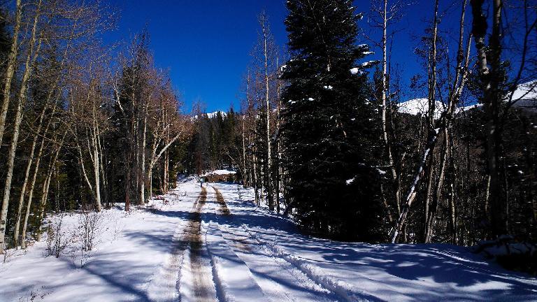 Hiking two miles up to the Clark Peak Yurt.