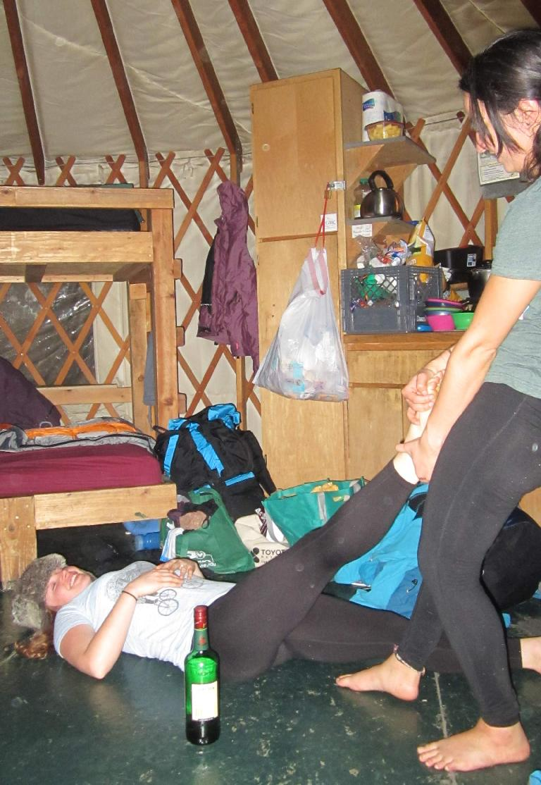 Jordan giving Victoria an adjustment... or just dragging her on the floor.
