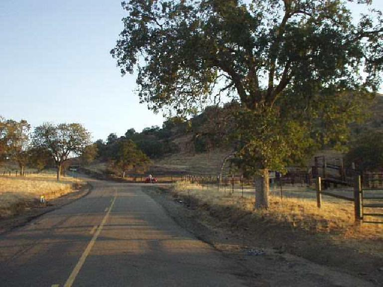 [Mile 20.5, 6:40am] The start of the serious climbing finally begins!  Here's the turnoff to Wildcat Grade.