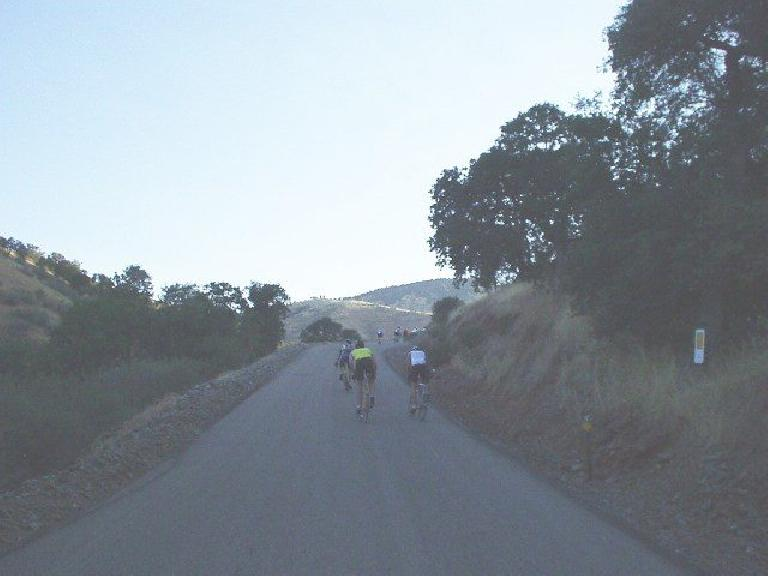 [Wildcat Grade, Mile 24, 7:02am] Climbing Wildcat Grade.  This photo was taken just 2 minutes after the road was a whopping 16% grade briefly!
