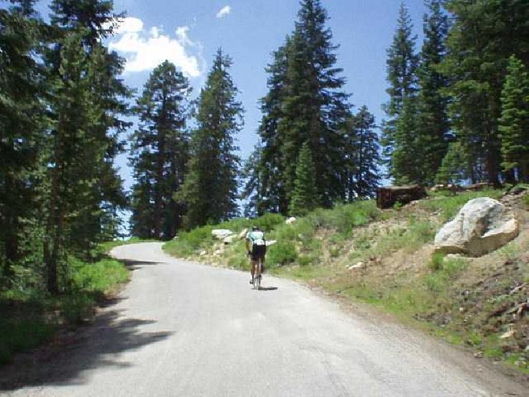 [Kaiser Pass, Mile 78.5, 1:50p] Another cyclist digging deep... the last couple of miles up Kaiser Pass got up to 18% grade.