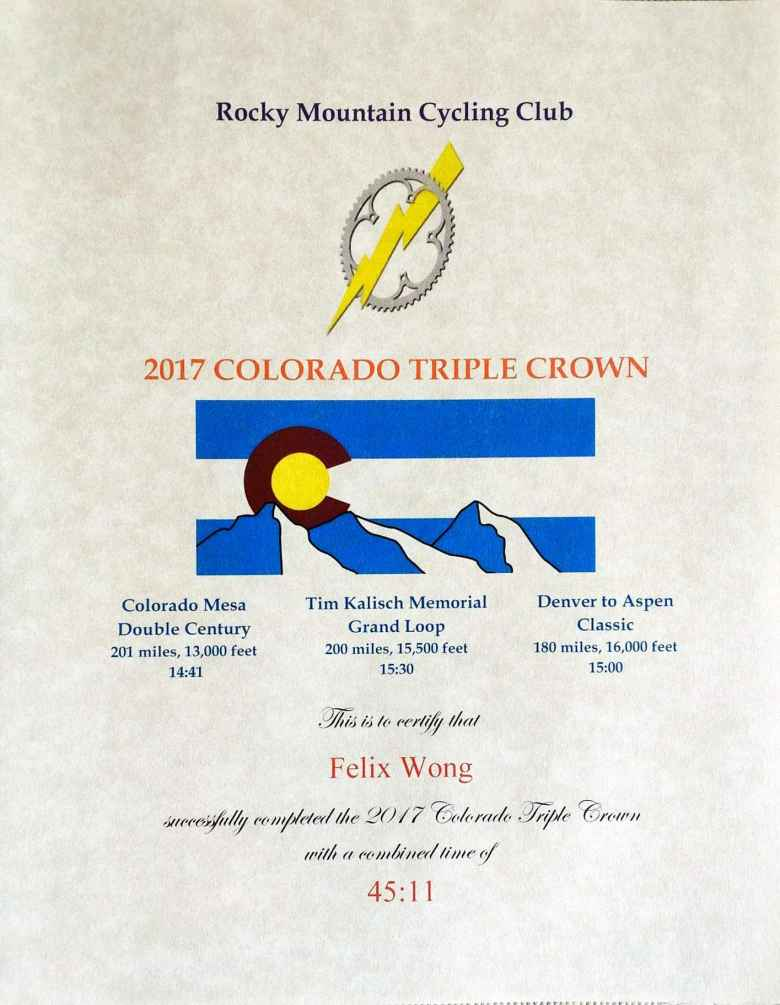 The certificate the Rocky Mountain Cycling Club sent me for completing the 2017 Colorado Triple Crown.