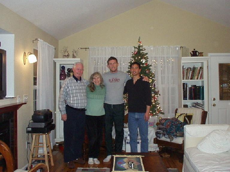 We stayed warm by having dinner and a mini-concert at my neighbors' during the blizzard.  Here's Dick, Dee, Tim, and I. (December 20, 2006)