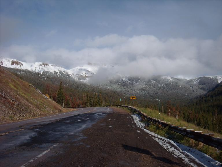 On the way back to Fort Collins, we had to crest Cameron Pass again.  Apparently, it received some snow shortly after we crested it in the morning.