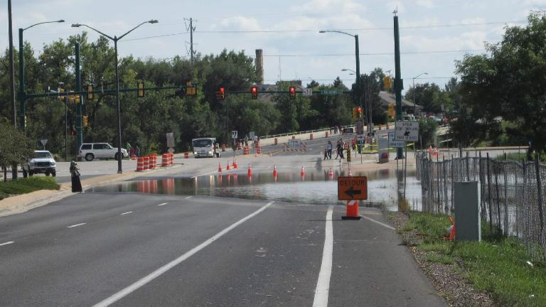 This is how the Lemay & E. Mulberry intersection in Fort Collins looked like after four days of crazy rain.