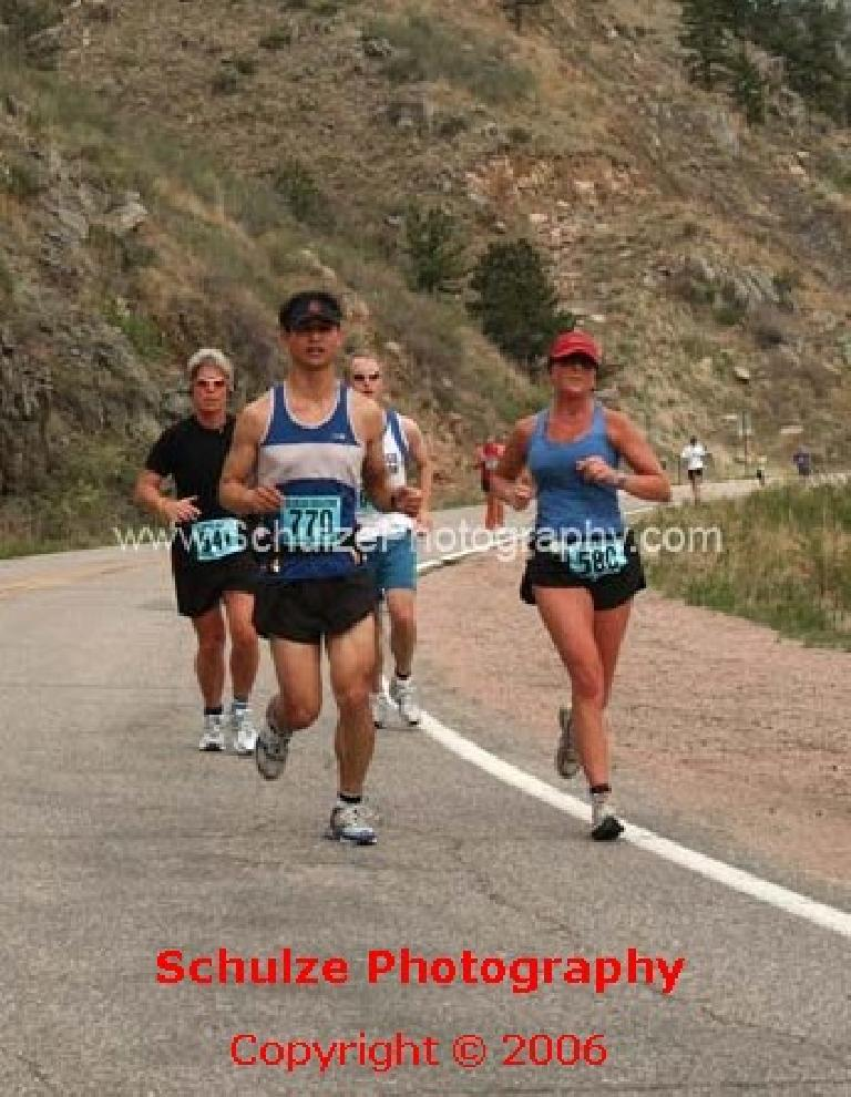 Running down the Poudre Canyon while conserving energy. Photo: Schulze Photography. (May 6, 2006)