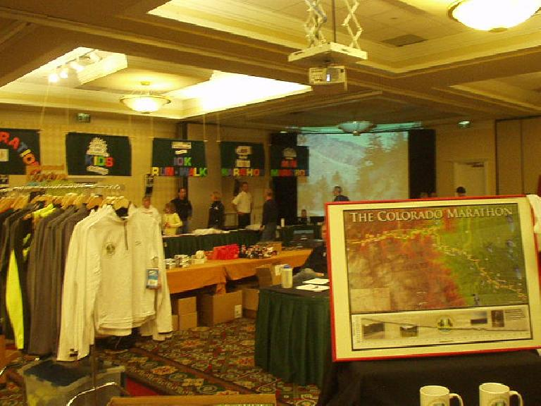 The pre-race expo for the Colorado Marathon was at the Marriot's hotel in Fort Collins.  It was really small but very quick to pick up our registration materials. (May 5, 2006)