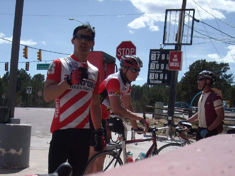 [Mile 123, 3:32 p.m.] At the Pine Junction checkpoint after yet another long, grueling climb.  Time for a Coke.