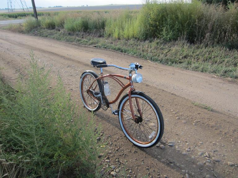 [Day 1, Mile 28, 7:53a] The Huffster on a dirt road off Colorado Blvd. for a little break.