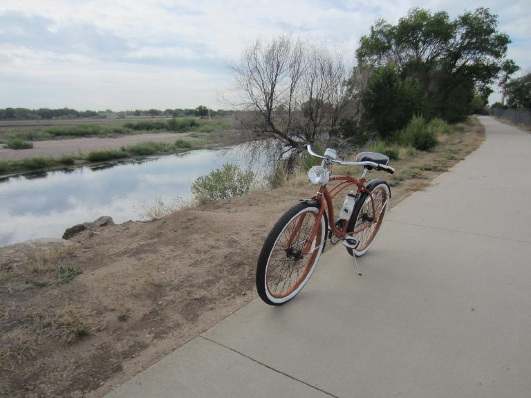 [Day 1, Mile 60, 10:34a] On the Platte River Trail.