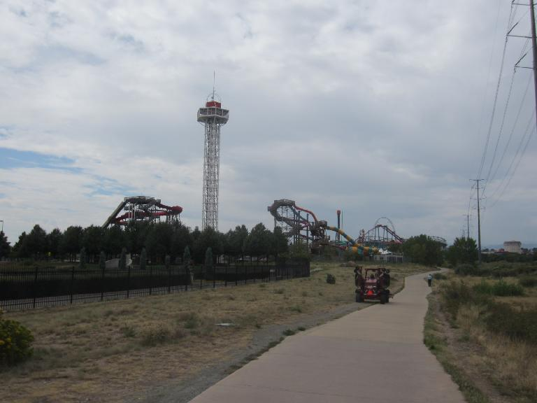 [Day 1, Mile 70, 11:56a] Elitch's Gardens & Amusement Park.