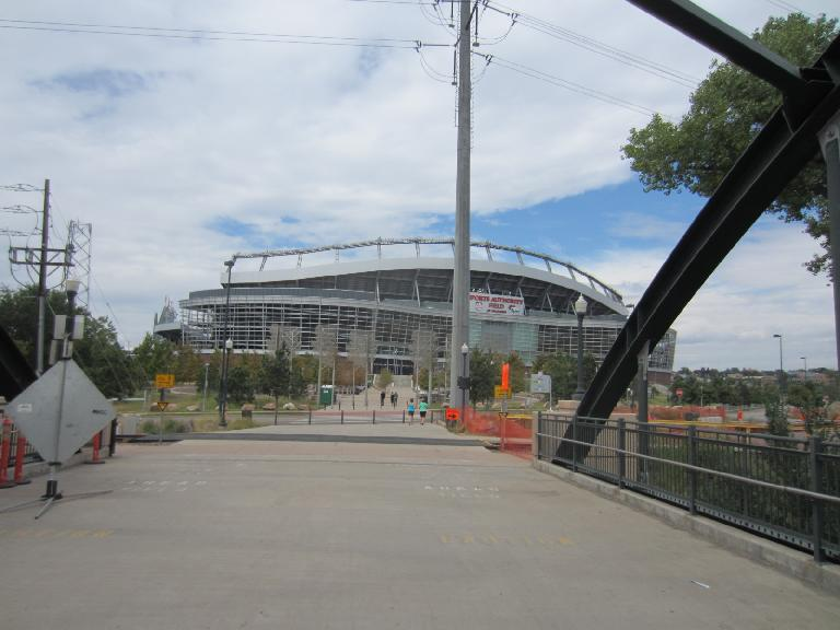 [Day 1, Mile 70, 12:01 p.m.] Sports Authority Field at Mile High, where the Denver Broncos play.