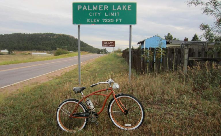 [Day 1, Mile 123, 6:00 p.m.] Made it to Palmer Lake, the high point of the ride at 7225 feet. (August 23, 2012)