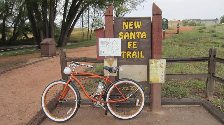 [Day 1, Mile 127, 6:38p] Now on the New Santa Fe Trail north of Colorado Springs.