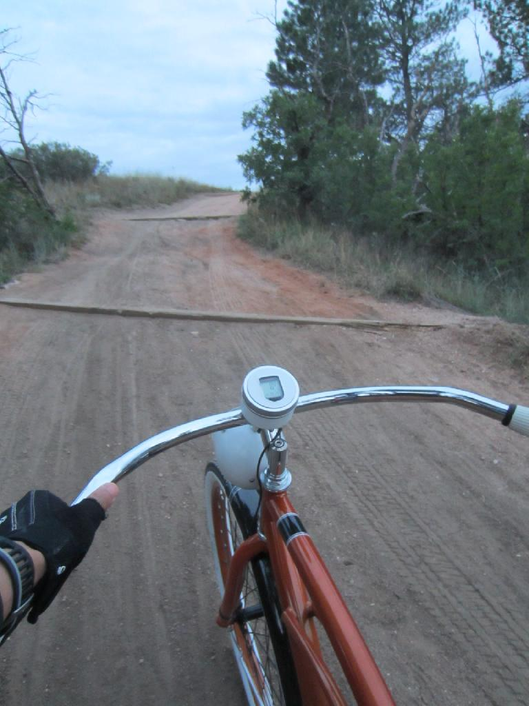 [Day 1, Mile 140, 7:51p] On one of the steeper portions of the New Santa Fe Trail.  I had to dismount and walk once on Day #1.
