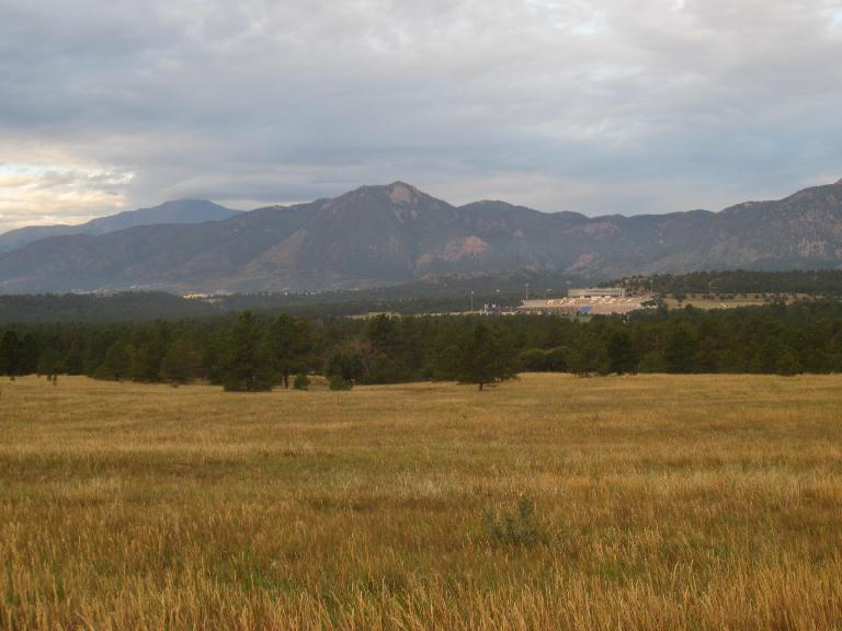 [Day 2, Mile 165, 7:02 a.m.] The mountains west of Colorado Springs, including Pikes Peak. (August 24, 2012)