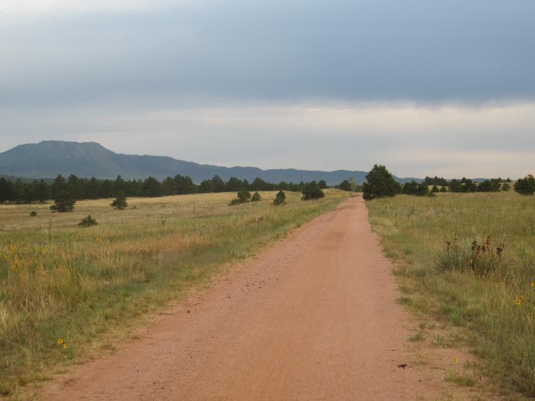 [Day 2, Mile 165, 7:03 a.m.] Riding along the New Santa Fe Trail. (August 24, 2012)