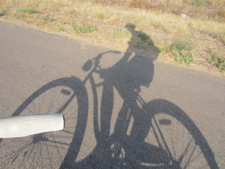 [Day 2, Mile ~256, 5:26 p.m.] My shadow on Colorado Blvd. (August 24, 2012)