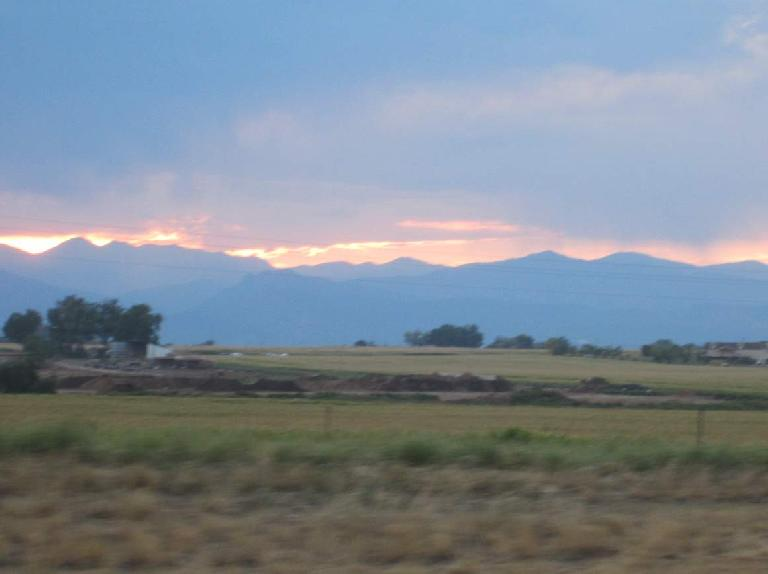 [Day 2, Mile 274, 7:21 p.m.] Enjoying a nice sunset over the Front Range from Loveland. (August 24, 2012)