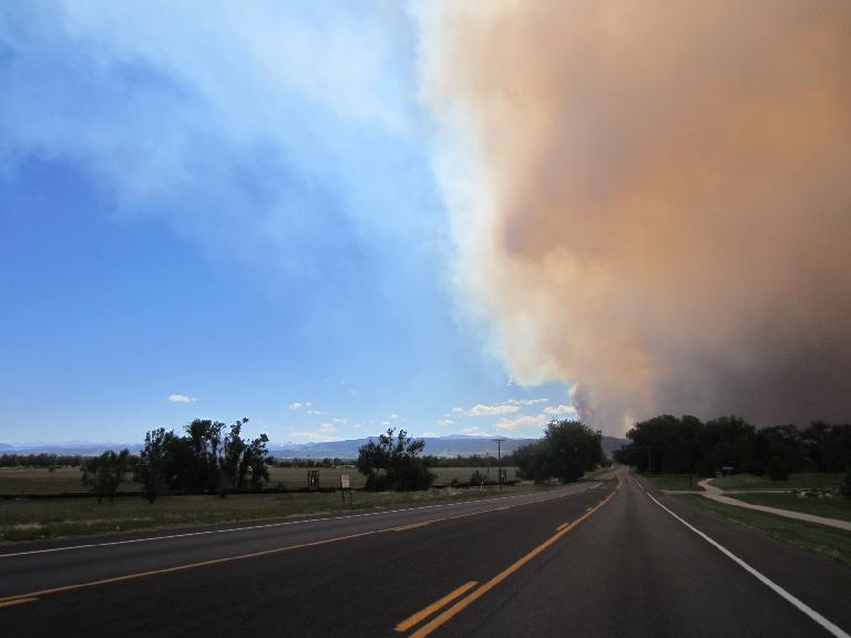 The smoke from the High Park Fire as seen by Tim and I while we were driving to the Taste of Fort Collins from a French Book Club meeting. (June 10, 2012)