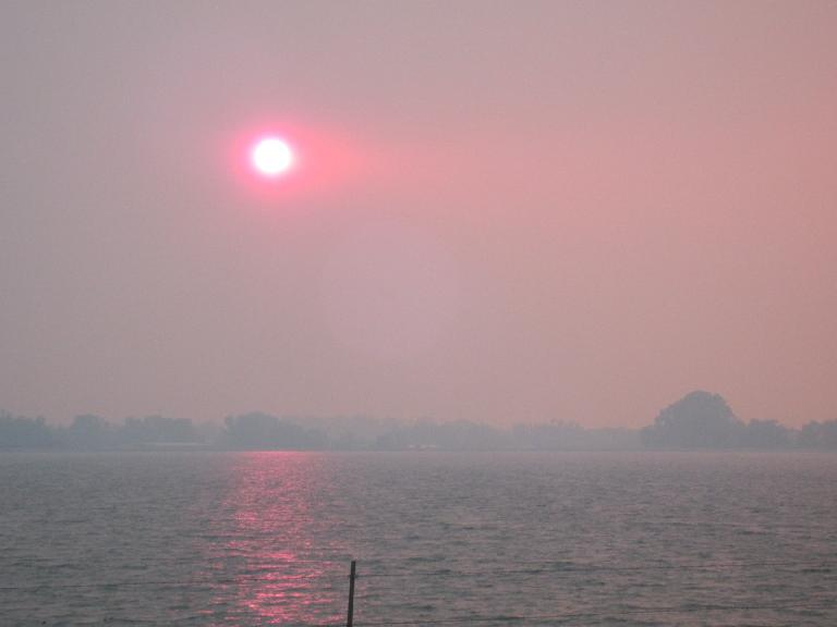 The reddish sun after the Mat Kearney concert, as seen over Terry Lake. (June 10, 2012)