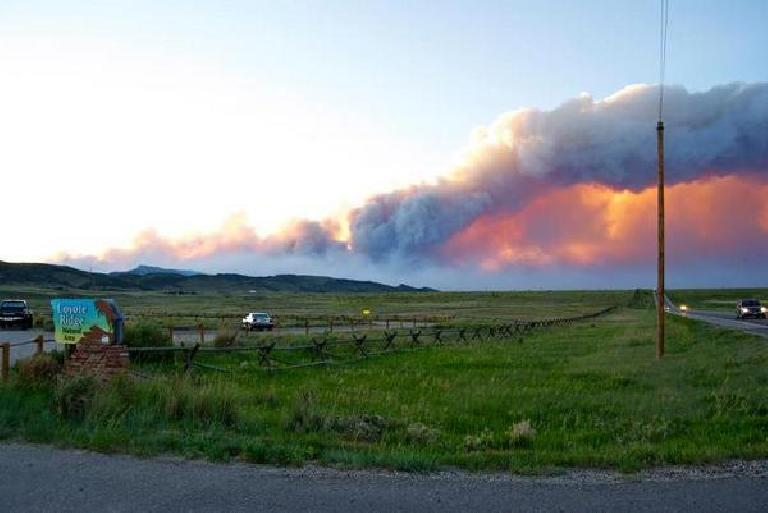 The High Park Fire as seen from Coyote Ridge, near Tori's place. Photo: a reader of the Coloradoan. (June 10, 2012)