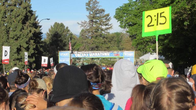start of the 2015 Colfax Half Marathon; 2:15 pace group