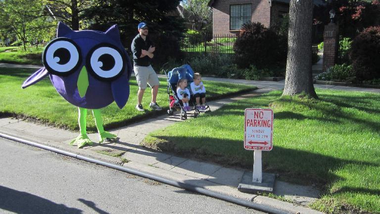 Blue owl along the 2015 Colfax Half Marathon course.