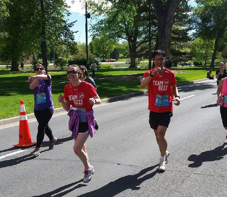 Maureen Hyde, Felix Wong, Team Beef, 2015 Colfax Half Marathon, taking photos, 2015 Colfax Half Marathon