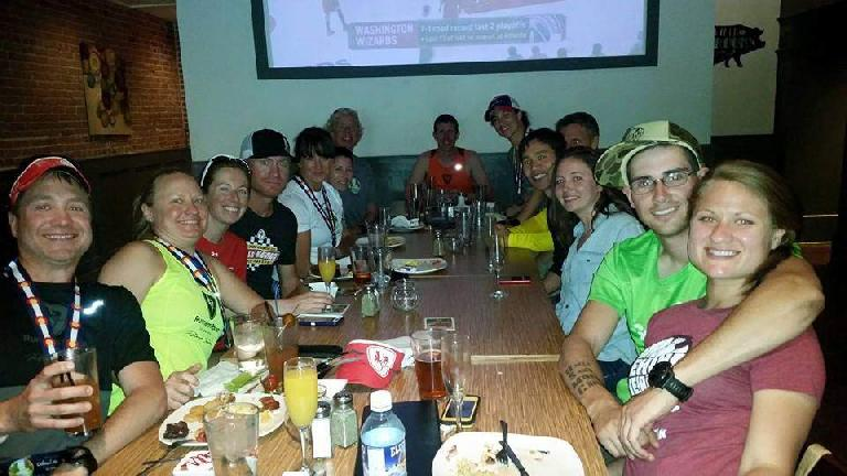 Fort Collins Running Club members at the Blind Pig after the Colorado Marathon.