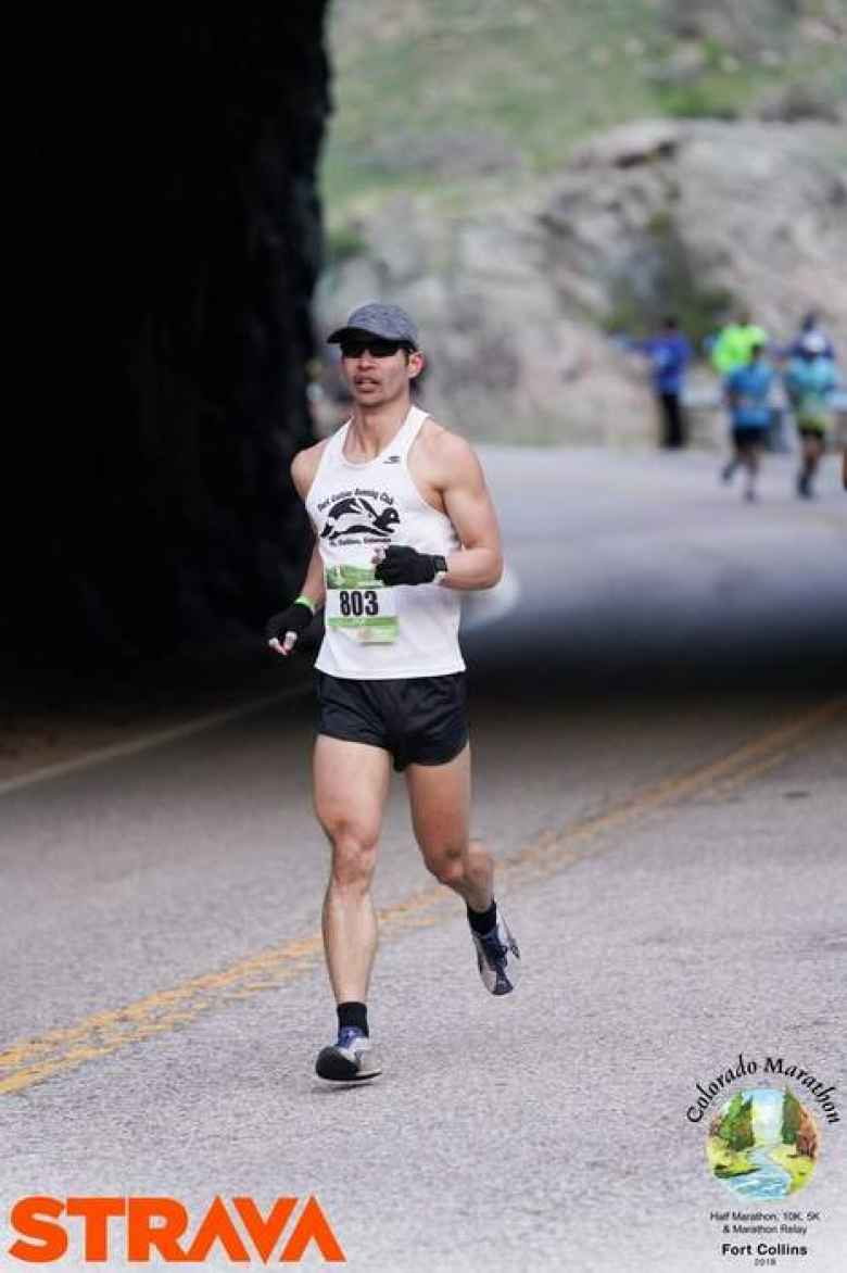 Felix Wong coming out of the Baldwin Tunnel in the lower Poudre Canyon. This was around Mile 3 of the 2019 Colorado Marathon.