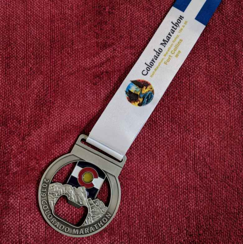 The finishing medal for the 2019 Colorado Marathon.