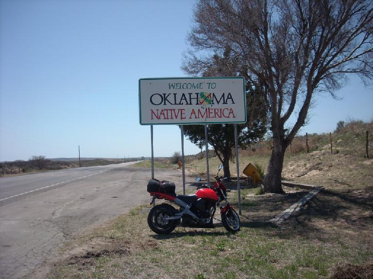 Made it to Oklahoma!  As with Kansas, it was the first time I've traveled through this state. (April 24, 2009)