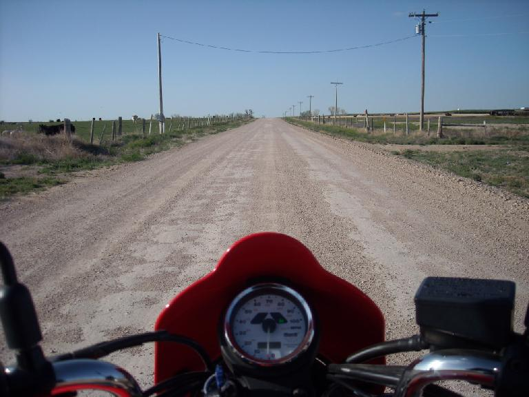 On a gravel road to the Hamilton Wildlife Area in Kansas (just east of the Colorado border). (April 27, 2009)