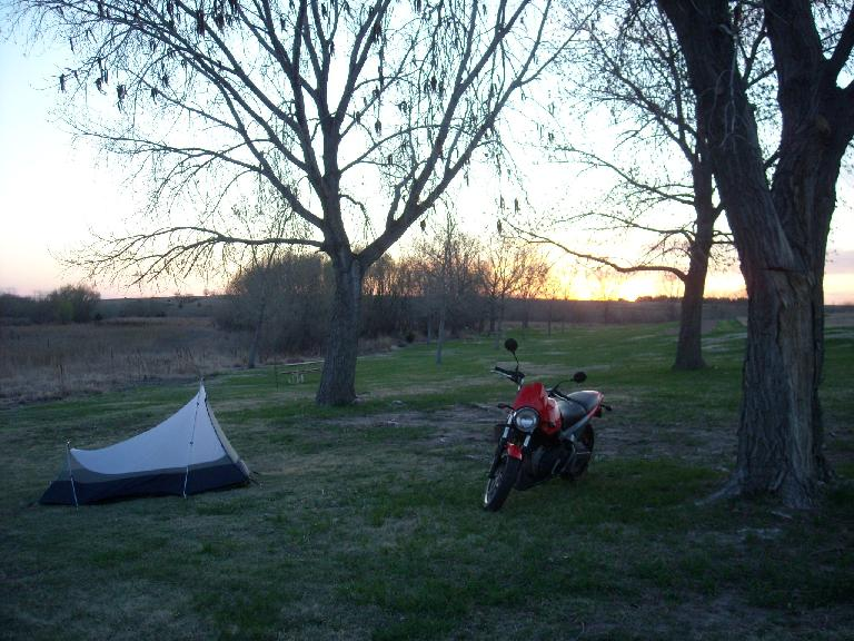 Got here with about an hour of daylight to set up camp, eat dinner, and call and text a few friends.