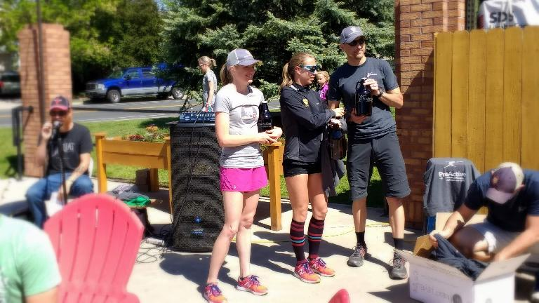 The speedy women accepting their awards at the post-race party at Intersect Brewery.