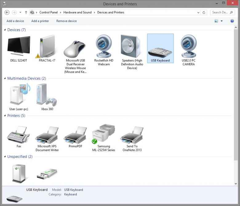Windows 8.1 Devices and Printers Control Panel