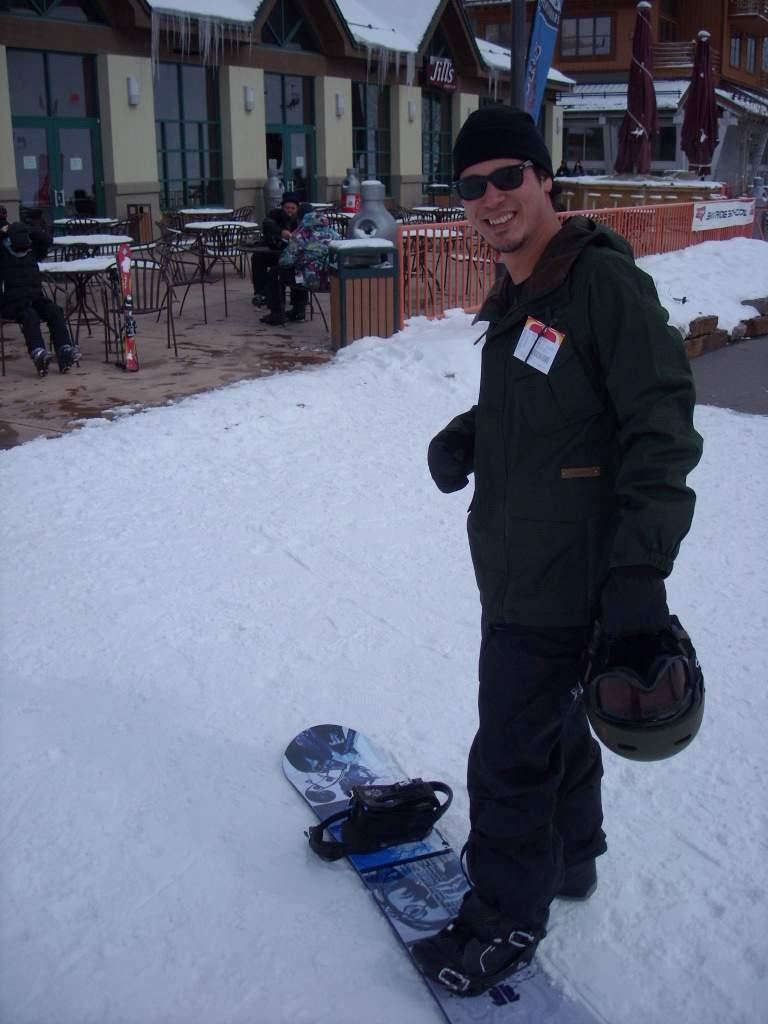 Rob with his snowboard at Copper Mountain.