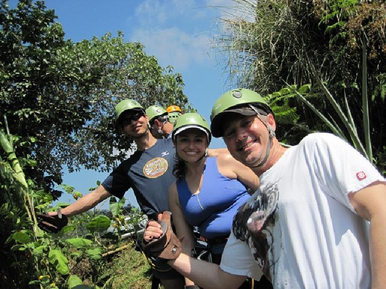 Felix, Brad (behind), Raquel and Rick at zip-lining. Photo: Tori. (March 16, 2011)