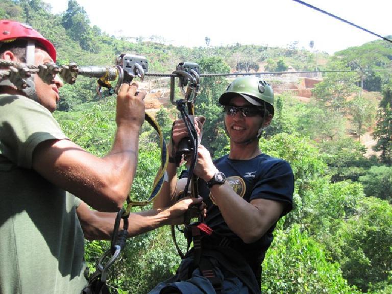 Felix Wong at zip-lining. Photo: Tori. (March 16, 2011)