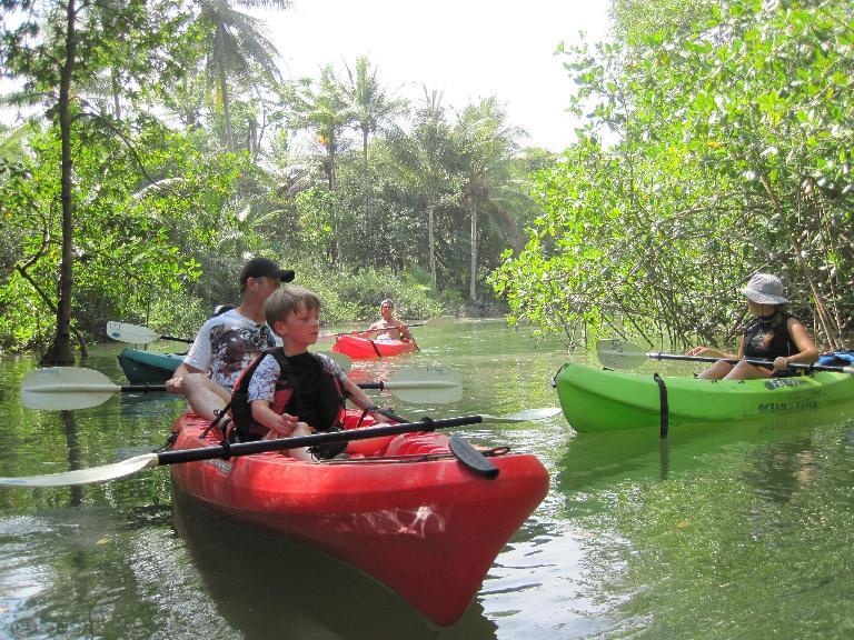 Rick and Aidan during a kayaking tour. Photo: Tori. (March 19, 2011)