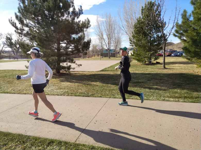 Marilyn and Amber at the start of the 2018 Cottonwood Glen Park 12k Tortoise & Hare race.