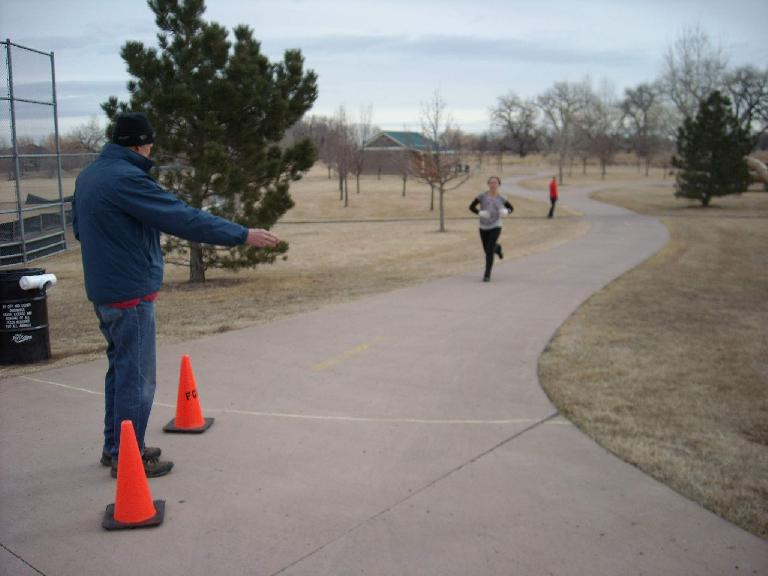 Leah about to finish this 12-kilometer Tortoise and Hare race.