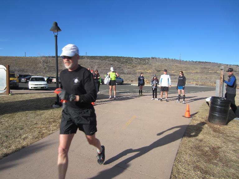 Doug starts his race.