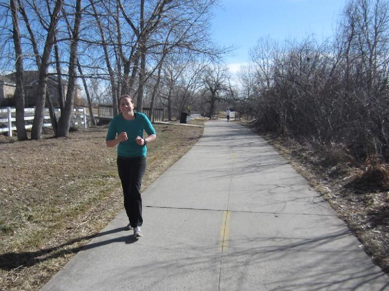Kelly about a mile out from the finish of her longest run ever.