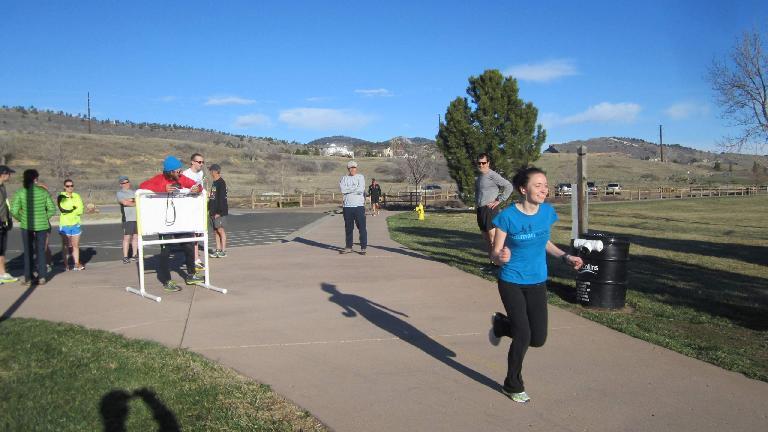 Maureen begins the 12k Tortoise & Hare race.
