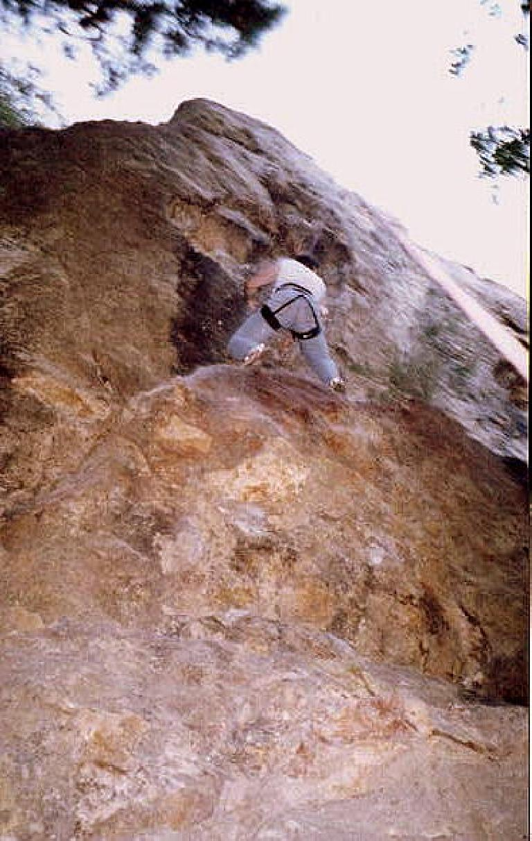 """Brent on the aptly-named 5.10a """"Farewell to Arms.""""  We both had problems with this one."""