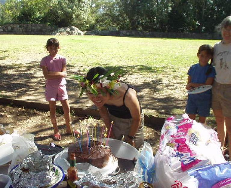 "Stacey blowing out candles with her two new lungs. ""Congrats on making it to your 39th birthday!"" someone had told her."