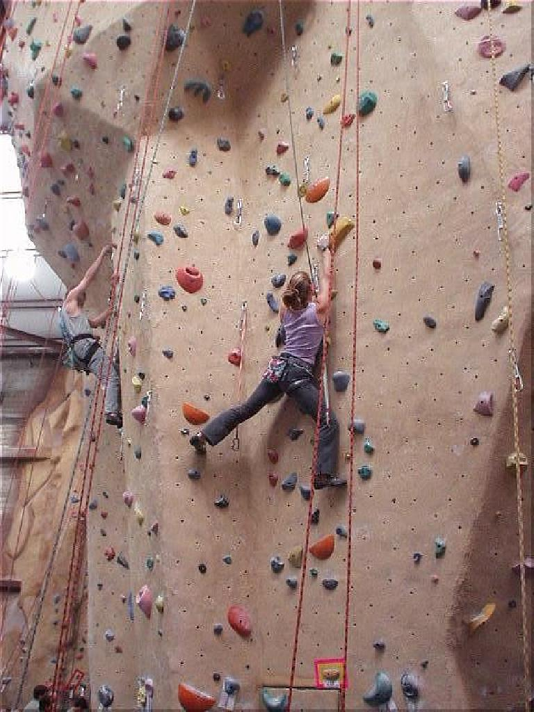 At the Cranberry Crank at Planet Granite in Belmont, we got to see Corinne again who was so awesome at last week's City Beach Bouldering Comp.  Here she is gracefully climbing up a 50-foot wall.
